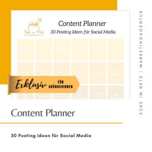 EXKLUSIV - Content Planner - 30 Posting Ideen für Social Media - Kühe im Netz Marketingagentur